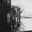 A view from the western-facing side of the church during the early stages of the flood