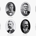 The Church Wardens, 1919; from left to right, first row then second row: Dr. William Brodberger, A. William Blaesi, Edward Amann, Henry Brefeld, Joseph Epping, Casper Obermeyer, Christopher Pharo, Joseph Nacke